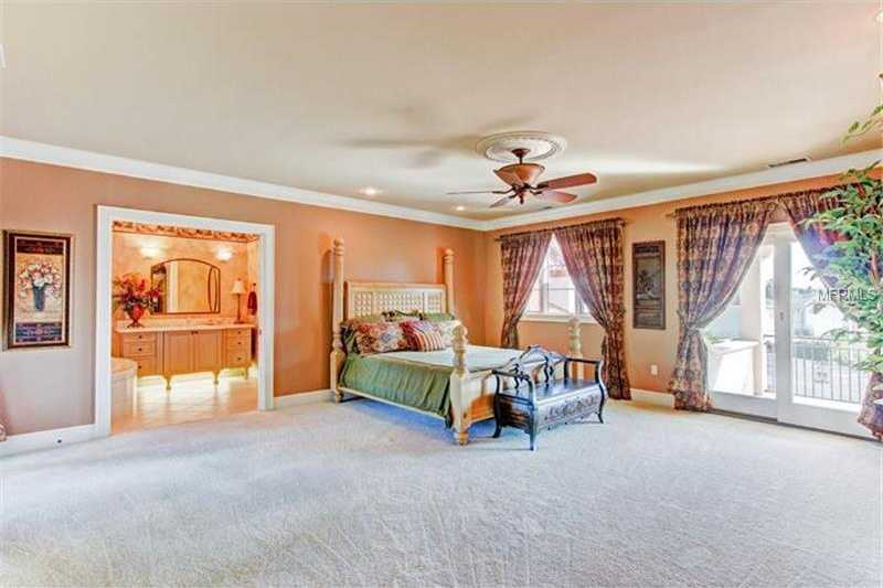 Mater suite boasts a private balcony.