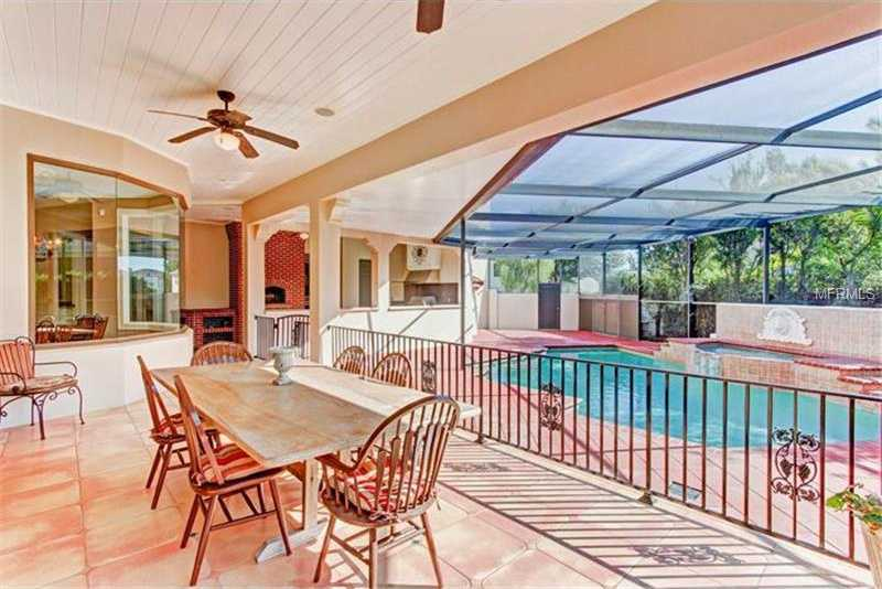 Dining area is raised above the pool.