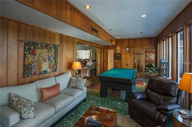 The family room also boasts bold Cuban tiled floors.