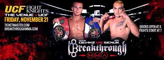 2. Breakthrough MMA Fight NightWhen: Fri., 7 p.m. Where: The Venue at UCF, 4000 Central Florida Blvd, Orlando, FL 32816Cost:  Tickets start at $30, get them hereBMMA 14 will feature a full night of fights with 25 fights currently on the card.