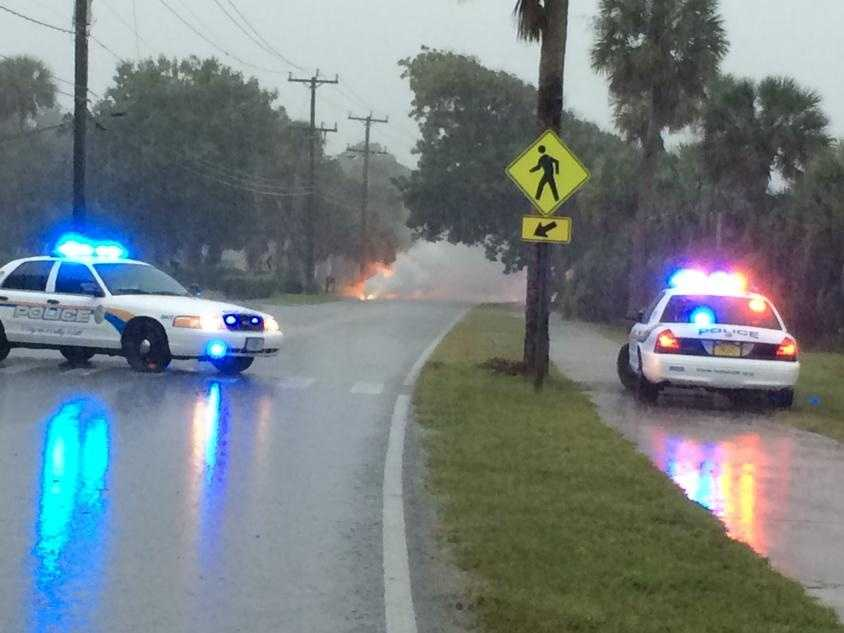 Downed power lines on Riverside Drive in Holly Hill.