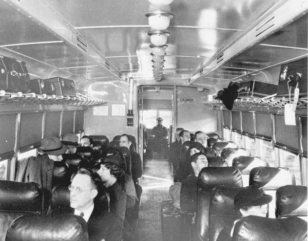 Interior of a segregated railroad car in Jacksonville taken in 1948.