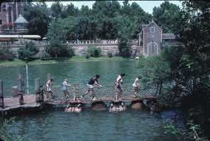 Barrel bridge for Tom Sawyer Island attraction in 1979