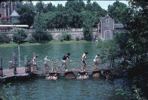 Barrel bridge for Tom Sawyer Island attraction in 1979