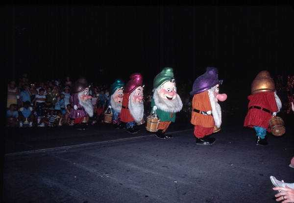 Snow White's dwarves in the Main Street Electrical Parade in 1979