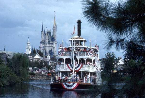 Liberty Square Riverboat amusement ride Richard F. Irvine sternwheeler in 1975