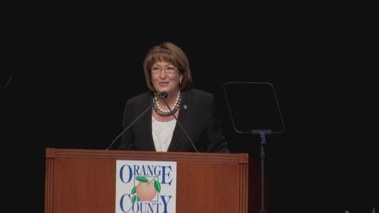 During a speech on Tuesday, Orange County Mayor Teresa Jacobs challenged the community to be more compassionate to those struggling and praised the county's job growth.