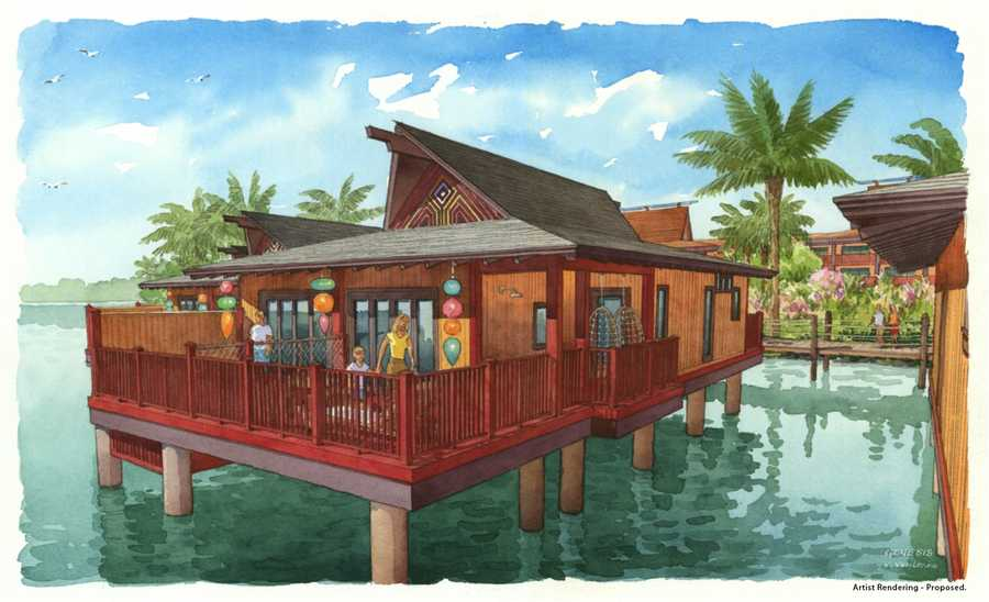 See artist renderings of Walt Disney World's new Polynesian Resort. The renovated resort will include 20 bungalows, which will sleep up to eight guests each, according to Disney officials.