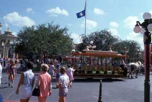 View showing a horse-drawn bus at the Magic Kingdom in Orlando in 1971.