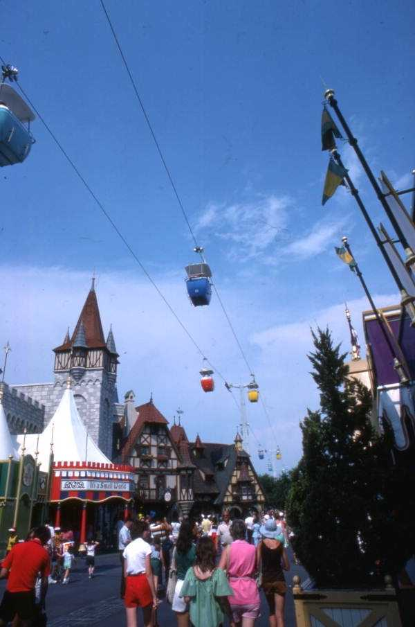 View showing the skyride at the Magic Kingdom in Orlando in 1977.