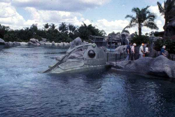 View of the 20,000 Leagues Under the Sea ride at the Magic Kingdom amusement park in Orlando in 1974.
