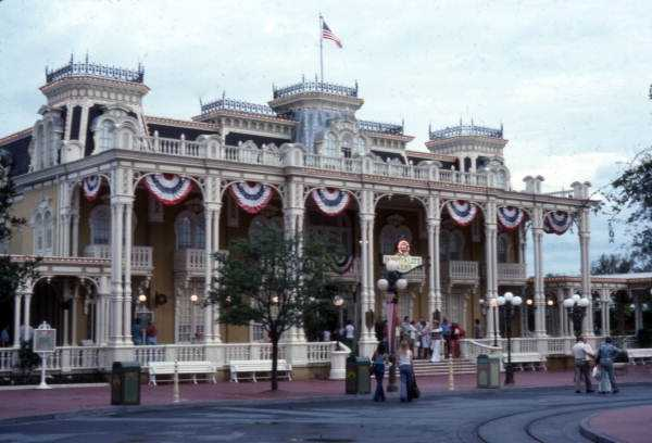Hospitality House building at the Magic Kingdom amusement park in Orlando in 1975.