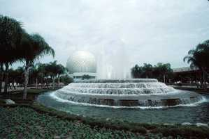 Fountain by Spaceship Earth geosphere at the Walt Disney World Resort's EPCOT Center.