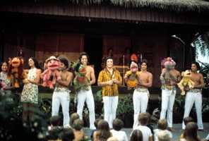 Children watch puppets and performers at Disney's Polynesian Luau in Orlando in 1981.