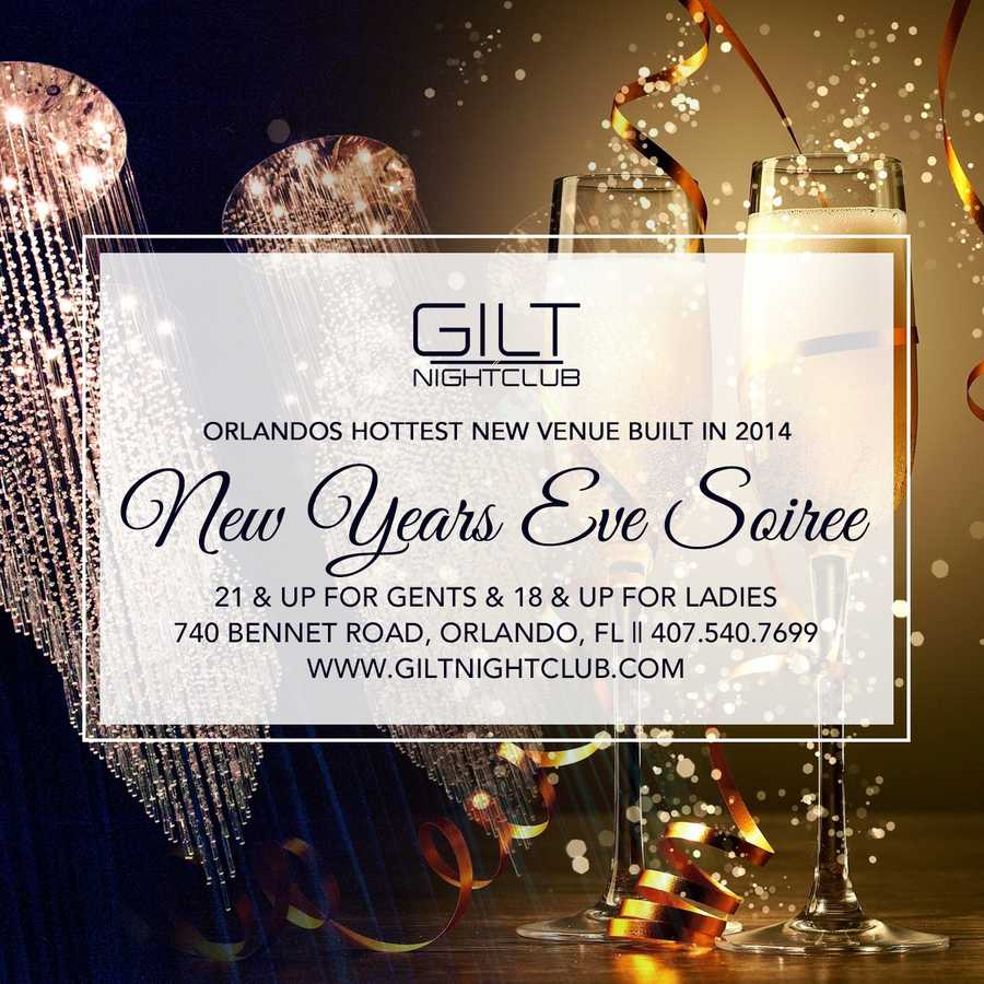 5. GILT Nightclub's New Year's Eve SoireeOrlando's newest nightclub is throwing a bash this New Year's Eve. Video: A tour inside GILT NightclubCost: Open premium bar until 12 a.m. is $40 and $55 until 2 a.m. The event also includes a party favor and a champagne toast for everyone at midnight. Address: 740 Bennett Rd., Orlando, FL 32803
