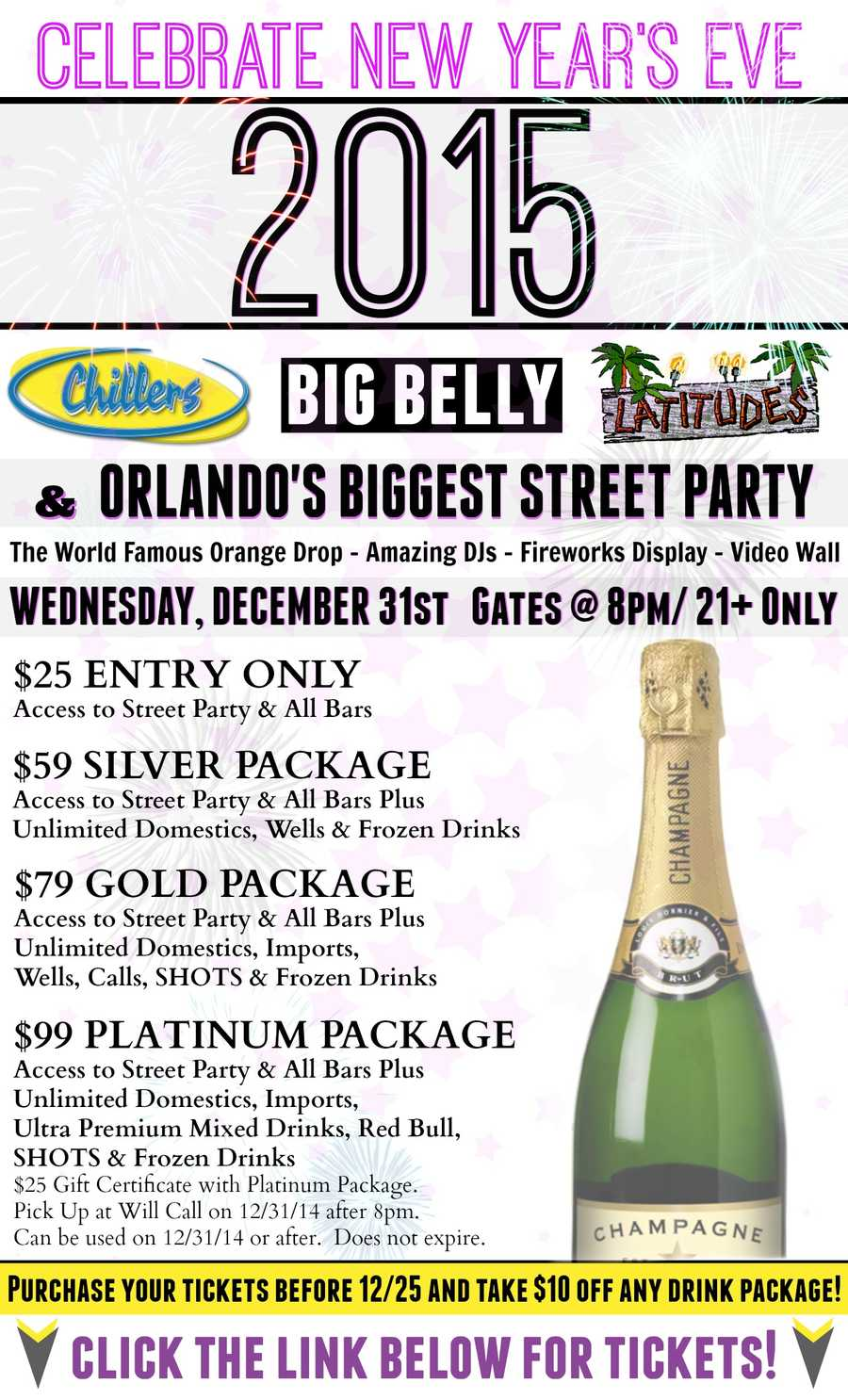 1. Church Street New Year's Eve PartyThis is the Orlando version of the New York City ball drop. You will see the orange drop at midnight with fireworks. You can also access the Church Street district, which includes Chillers, Big Belly Brewery and Latitudes. Cost: $25 entry only, $59 entry and unlimited domestics, wells and frozen drinks, $79 entry, unlimited domestics, imports, wells, calls, shots and frozen drinks, $99 same as previous plus $25 gift certificate