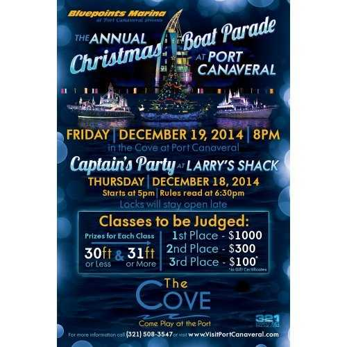 4. Christmas Boat Parade at Port Canaveral When: Fri., 8 p.m.Where: The Cove at Port Canaveral Cost: Free This is a family-friendly event features beautiful boats of all sizes  decorated for the holidays.