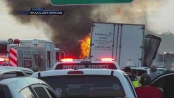 16. Semi-truck driver killed in fiery pileup on Interstate 95 - A fiery pileup of vehicles killed one driver and injured others on Interstate 95 in Mims. (Read Story)