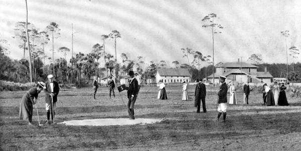 1890s - Golfers at the number 1 putting green in Ormond Beach