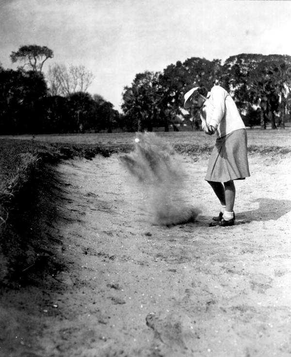 1947 - Margaret Wall in a sand trap at a tournament in Saint Augustine