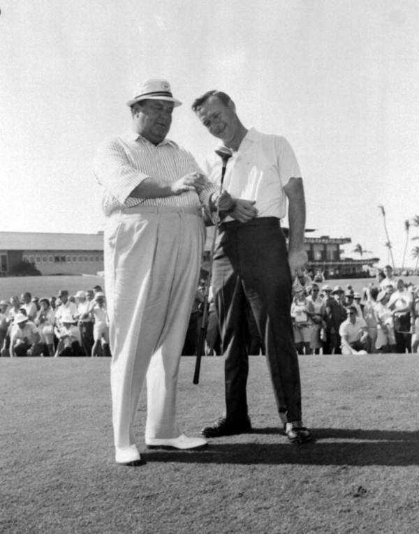 1960s - Jackie Gleason and Arnold Palmer at a golf match