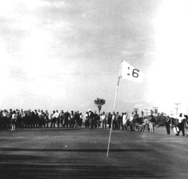1961 - Marge Burns, left, watches ball head for the 15th green in Ormond Beach