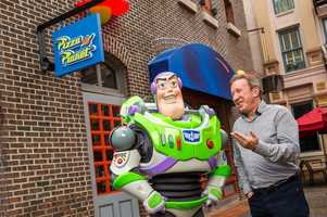 """Actor and comedian Tim Allen swung by Disney's Hollywood Studios recently to meet Buzz Lightyear. Allen voiced Buzz in the Disney-Pixar """"Toy Story"""" series of animated films."""