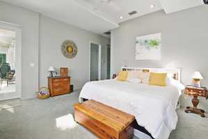 The bedroom also features recessed lighting and private entrance to the patio.