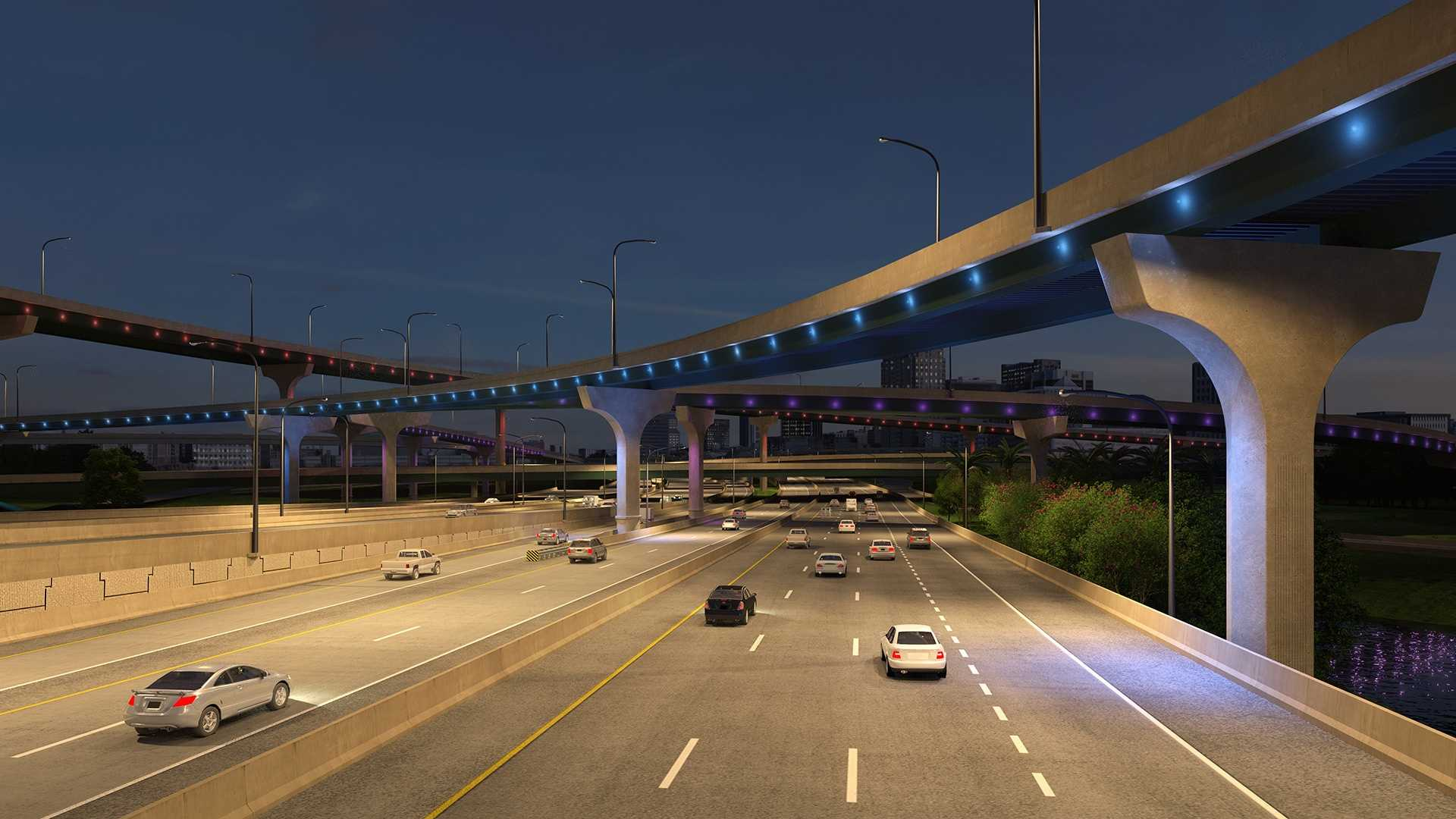 I-4 Ultimate S.R. 408 interchange at night