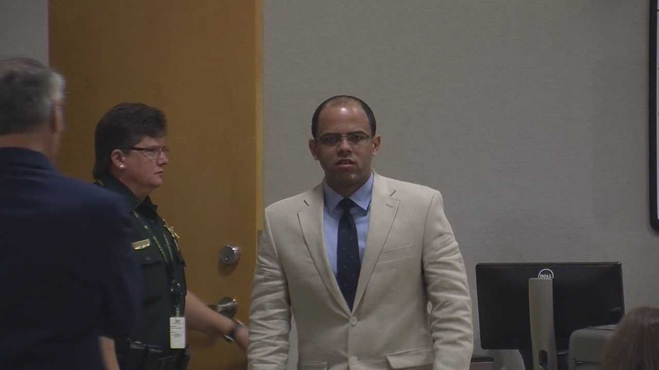 One accused murderer points the finger of blame at his alleged partner in a Brevard County courtroom.