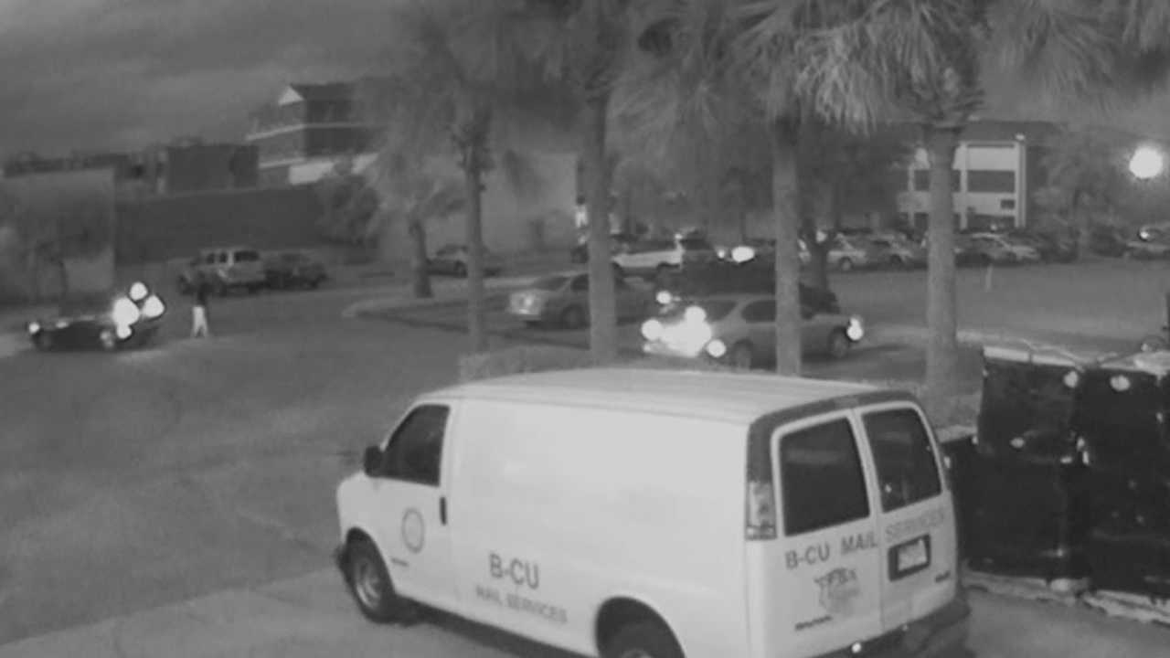Surveillance video released on Tuesday shows the moment gunfire erupted at Bethune Cookman University, injuring three people, according to the Daytona Beach Police Department.