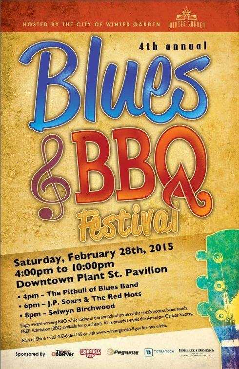 2. Winter Garden Blues and BBQ FestivalWhen: Sat., 4 p.m. - 11 p.m.Where: Downtown Winter Garden, 104 S. Lakeview Ave., Winter Garden Cost: Free admission, beer and BBQ available for purchase This festival pairs the hottest Blues and Roots musicians with award-winning local BBQ connoisseurs.