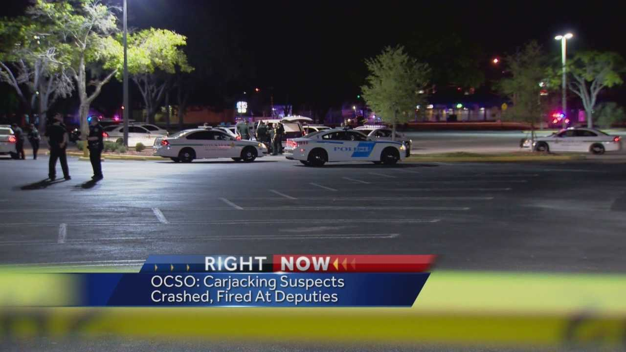 Deputies are searching for three of four people accused of firing shots at innocent bystanders and then turning the gun on a deputy, according to the Orange County Sheriff's Office.
