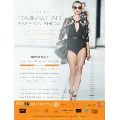 1. Style FX Swimwear Fashion Show When: Friday 7-10 p.m. Where: Gilt Nightclub, 740 Bennett Rd., Orlando, Fla. 32803 Cost: $15 in advance, $20 at the door. Get tickets here.  Join Orlando Style Magazine at the Style FX Swimwear Fashion Show where they will be revealing the latest and hottest swimwear of the season. Designers will include Miss Fanatic, Shirl Clark Collection, Catarsis Swimwear, and more. Complimentary cocktails from 7-8 p.m. along with hors d'oeuvres and live entertainment. Proceeds from the raffle and silent auction will benefit Fashion Funds a Cure in support of the Pediatric Cancer Foundation.