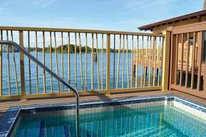 Guests are able to watch the Magic Kingdom Park fireworks, and even listen to the soundtrack of the spectacle from the outdoor plunge pool.