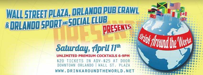 5. Downtown Drink around the WorldWhen: Saturday 6 - 9 p.m.Where: Bullitt, 33 East Pine St., Orlando, Fla. 32801Cost: $20 before April 10, $25 day of event. Tickets here.Try full sized signature cocktails from around the globe as you travel to all your favorite countries at this years Downtown Drink around the World. There will be themed areas that represent individual Country's culture and cocktails as well as authentic food.