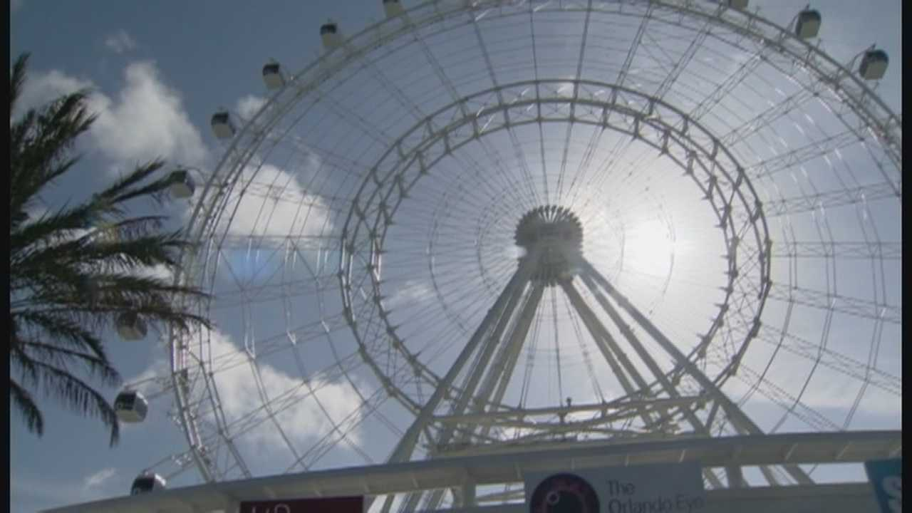 International Drive's big new tourist attraction is set to open in a few weeks, but there was a lot of action at the Orlando Eye on Wednesday.