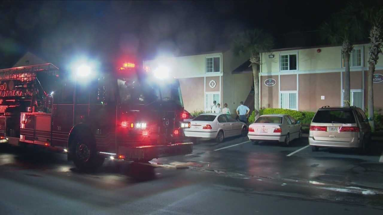 Orange County Fire Rescue officials investigate a possible case of arson on Monday morning.