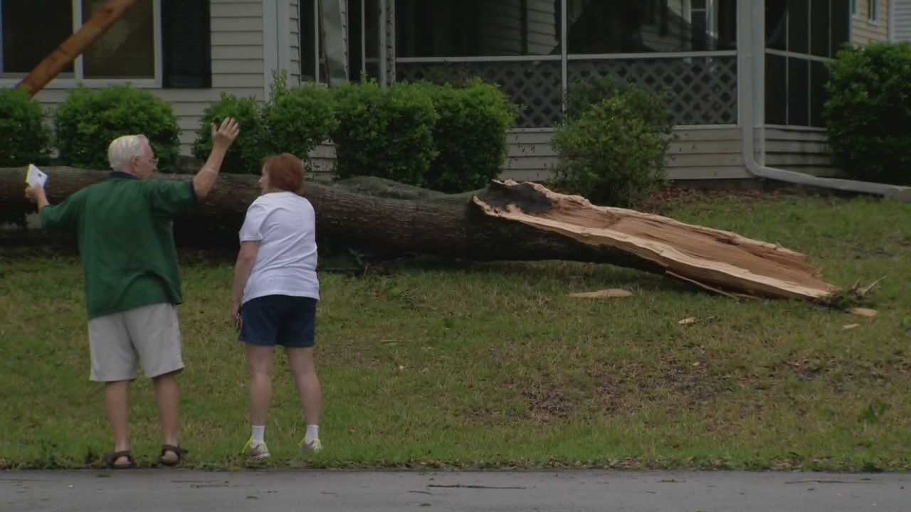 Storms moved through Central Florida on Monday, some of which sent trees crashing down into Marion County homes.