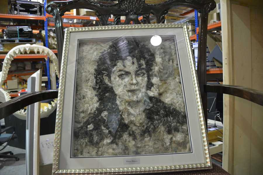 Michael Jackson portrait made from dog hair