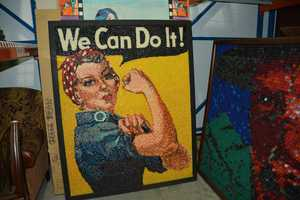 """""""We Can Do It"""" poster made from jelly beans"""