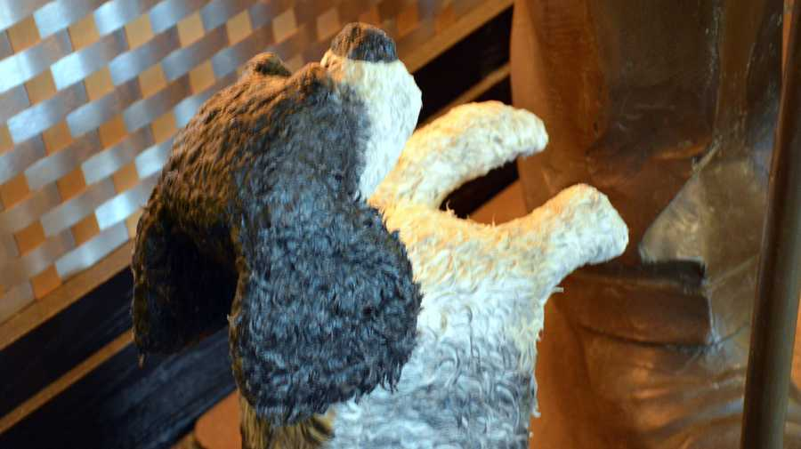 Dog statue made from dog hair