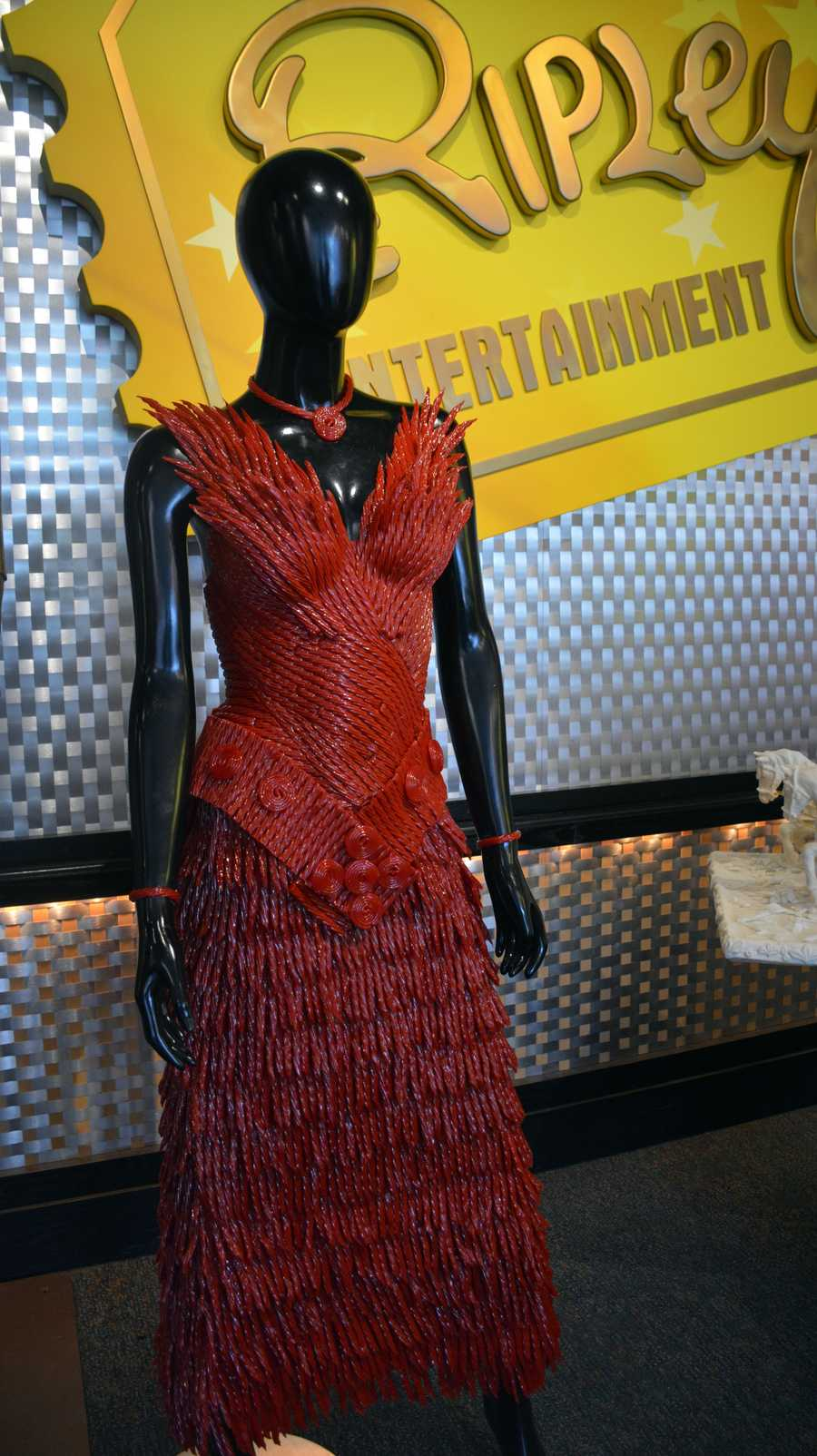 Dress made from red licorice