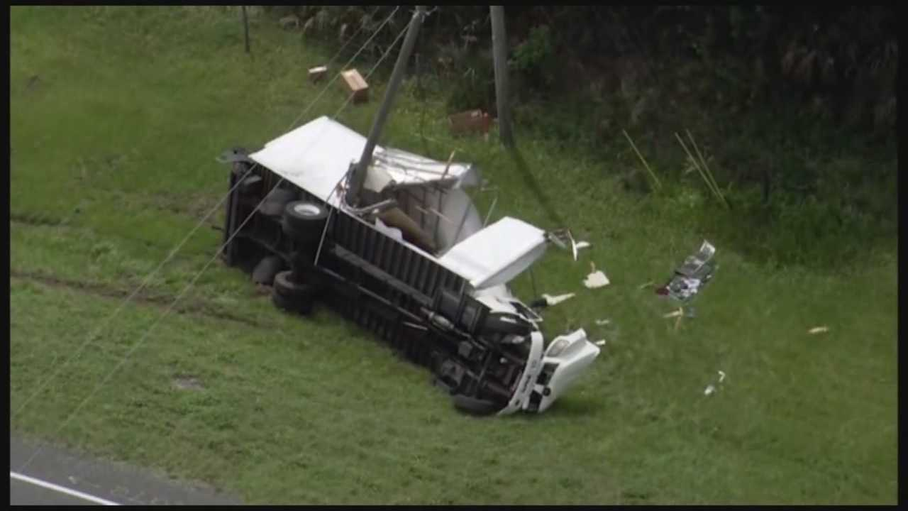 A cargo truck was split in two by a pole in Osceola County on Wednesday morning. Adrian Whitsett (@AdrianWhitsett) has the latest.