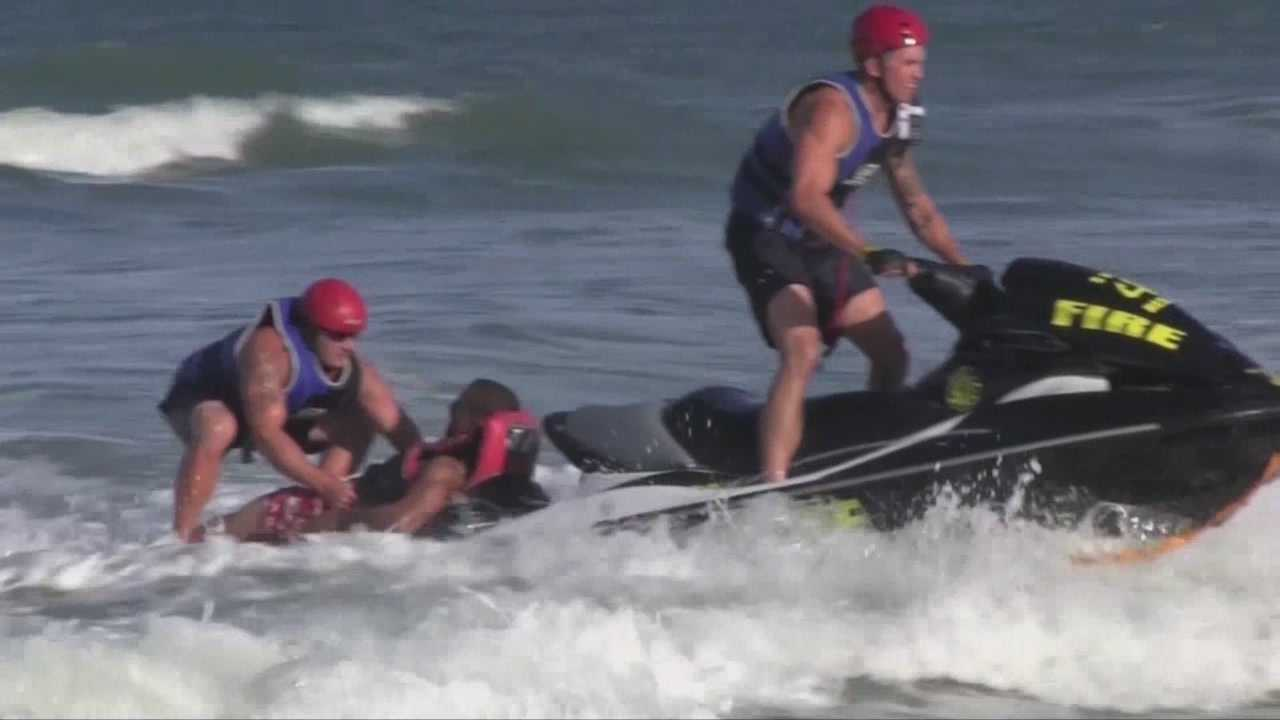 Brevard County Sheriff's Office deputies and firefighters worked together to rescue a man who was stuck in the surf about 150 feet from shore. Dan Billow (@DanBillowWESH) has the latest.
