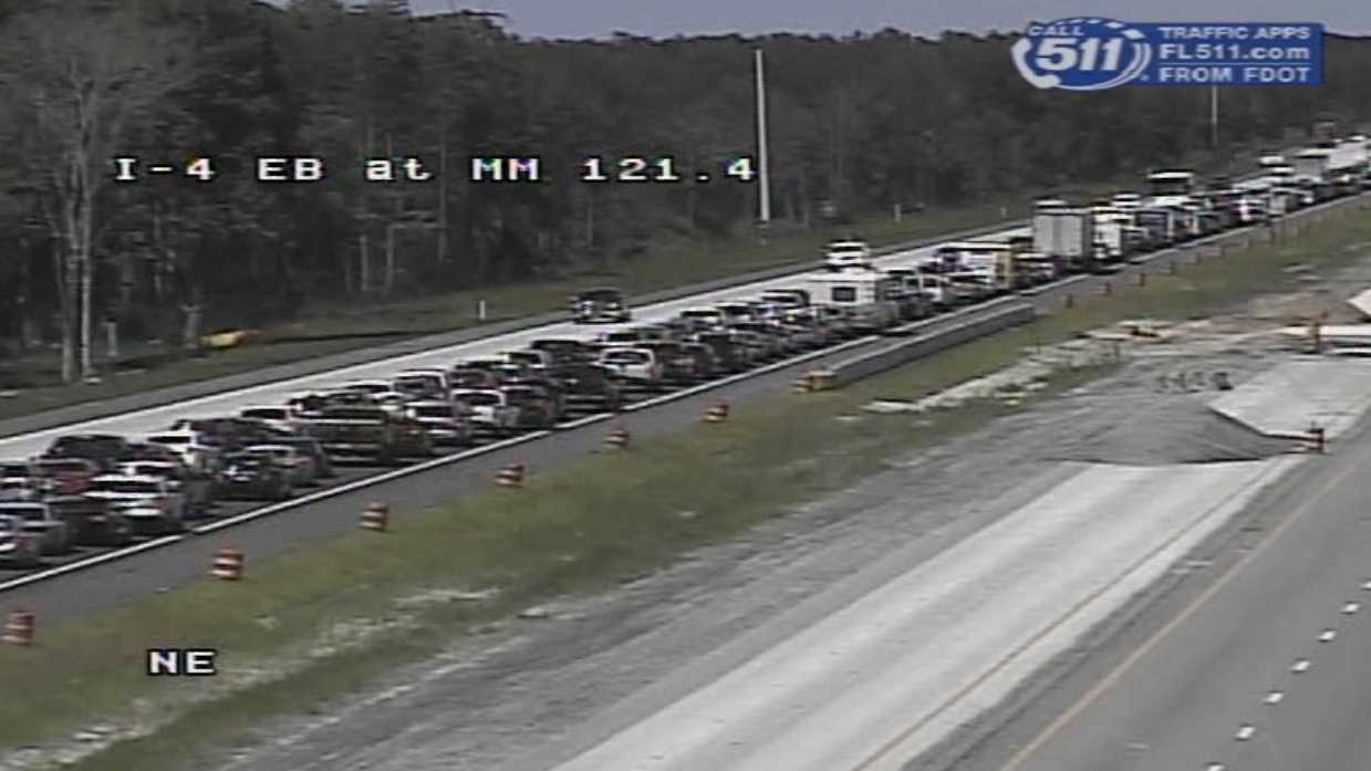 Motorists stuck in traffic Saturday afternoon between DeLand and Daytona Beach.