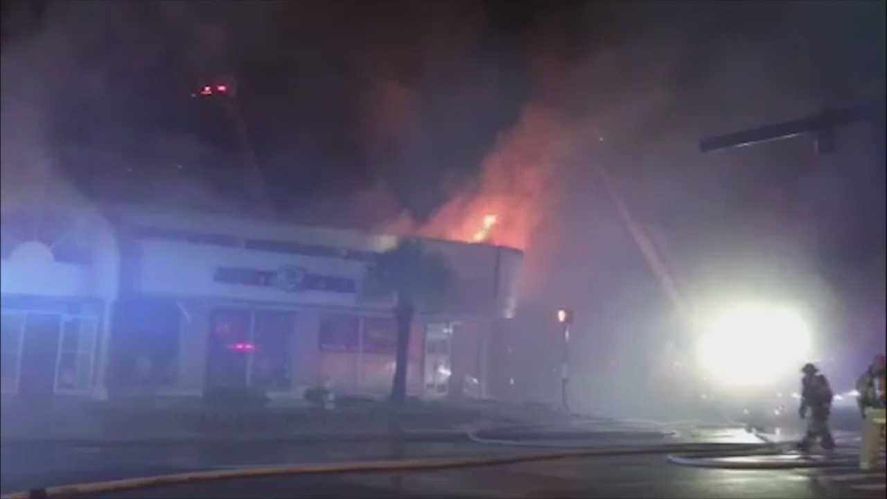 A new souvenir shop that opened Wednesday in Daytona Beach caught fire late at night.