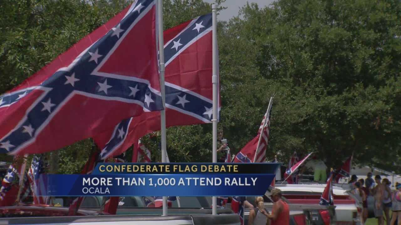 Thousands of people have rallied in central Florida in support of flying the Confederate flag.