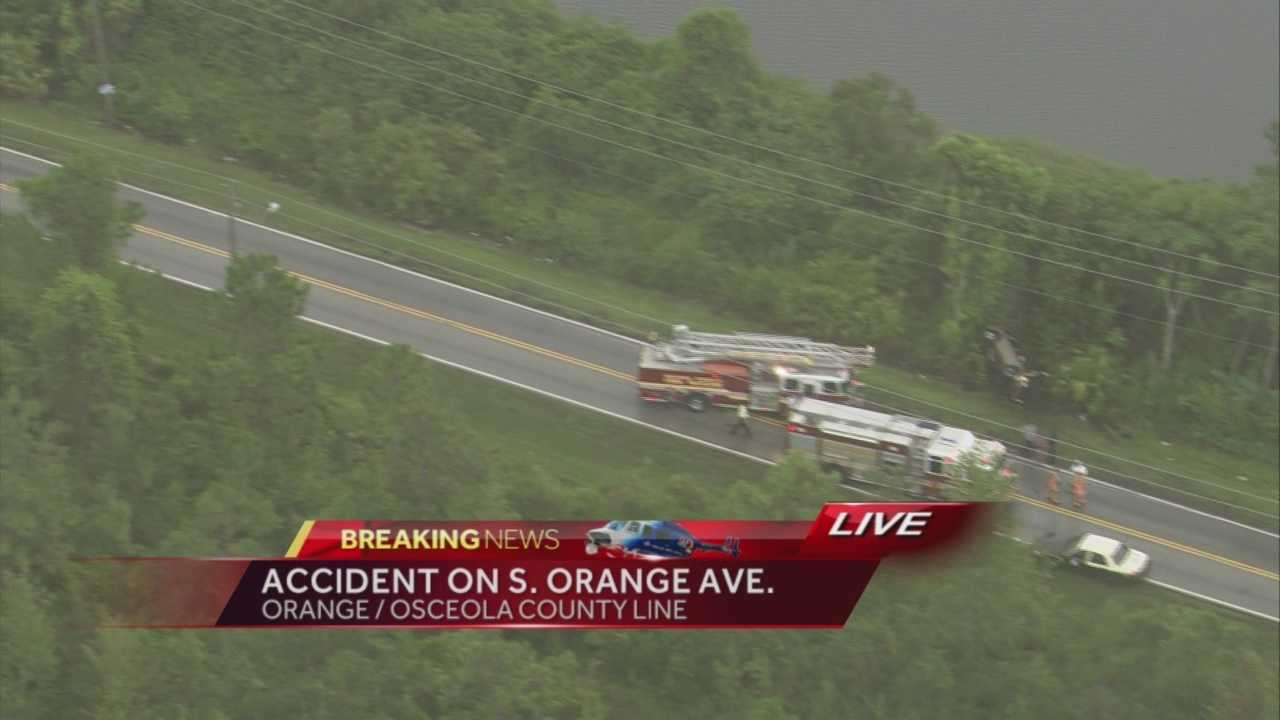 One adult was hospitalized after a crash near the Orange County/Osceola County line.