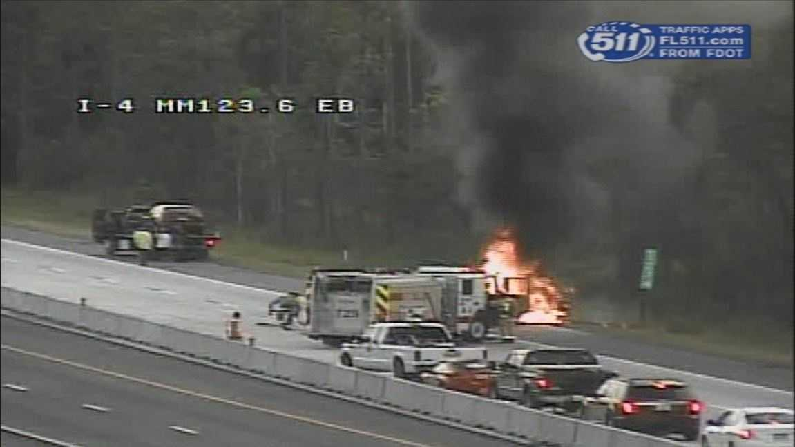 A car fire on Interstate 4 in Volusia County brought hundreds of vehicles to a dead stop Sunday night.
